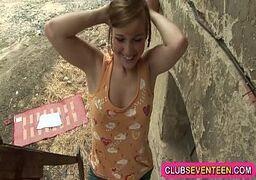 Novinha transando gostoso na escada da fazenda